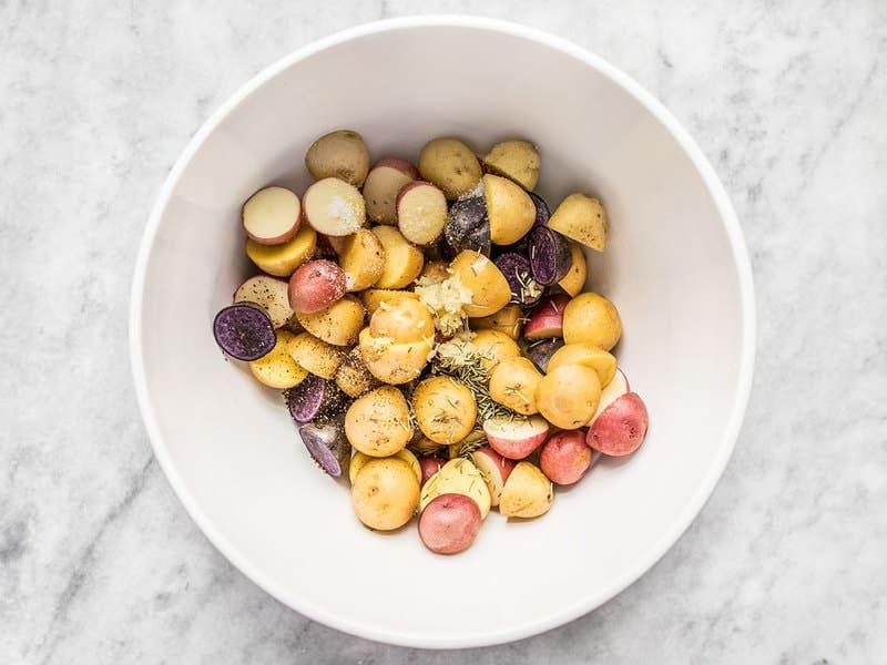 Cut and Season Potatoes