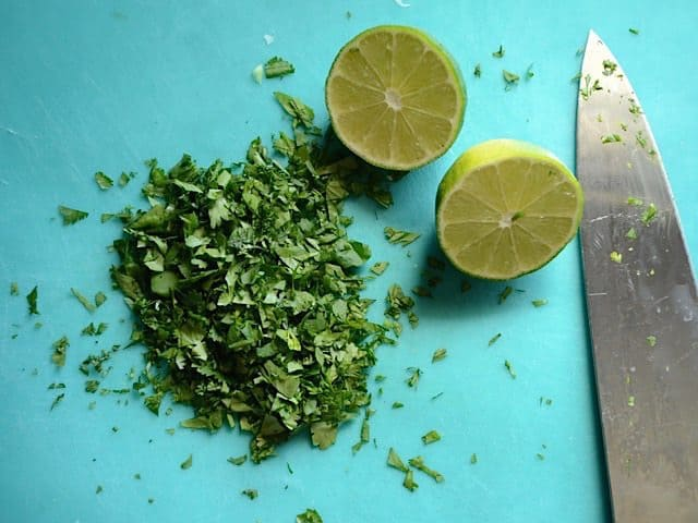 Cilantro and Lime being chopped up