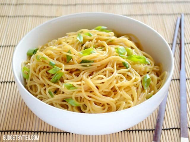 Front view of Garlic Noodles in a bowl