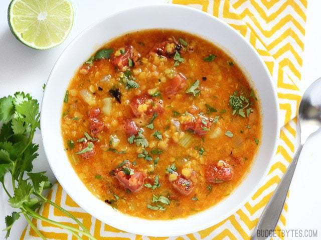 Mexican Red Lentil Stew - BudgetBytes.com