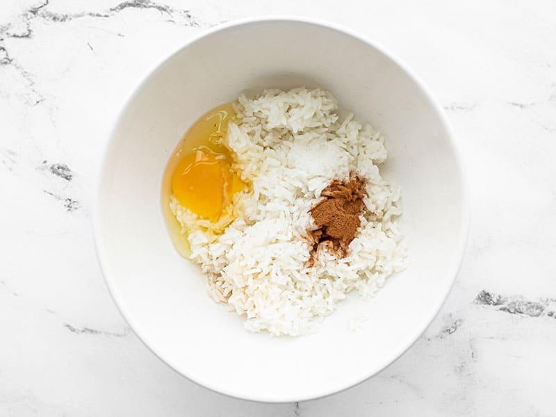 Rice pancake ingredients in a bowl