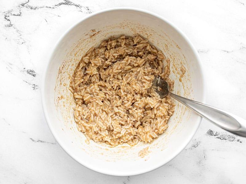 Rice pancake batter in a bowl