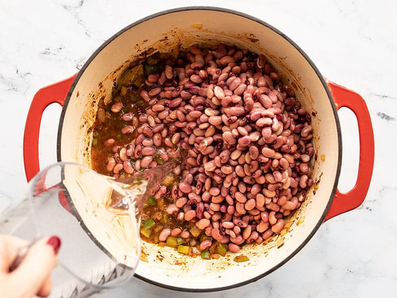 Drained red beans and water added to the pot