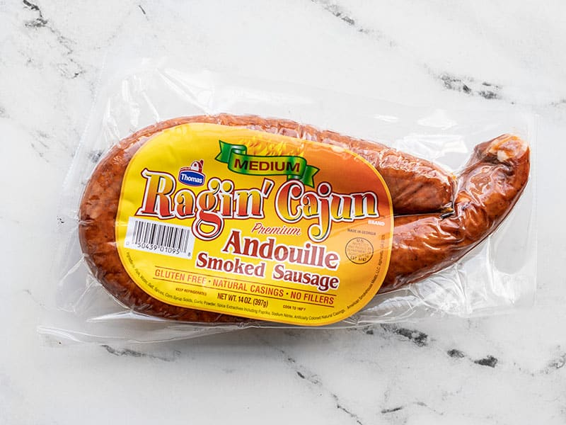 Package of andouille sausage