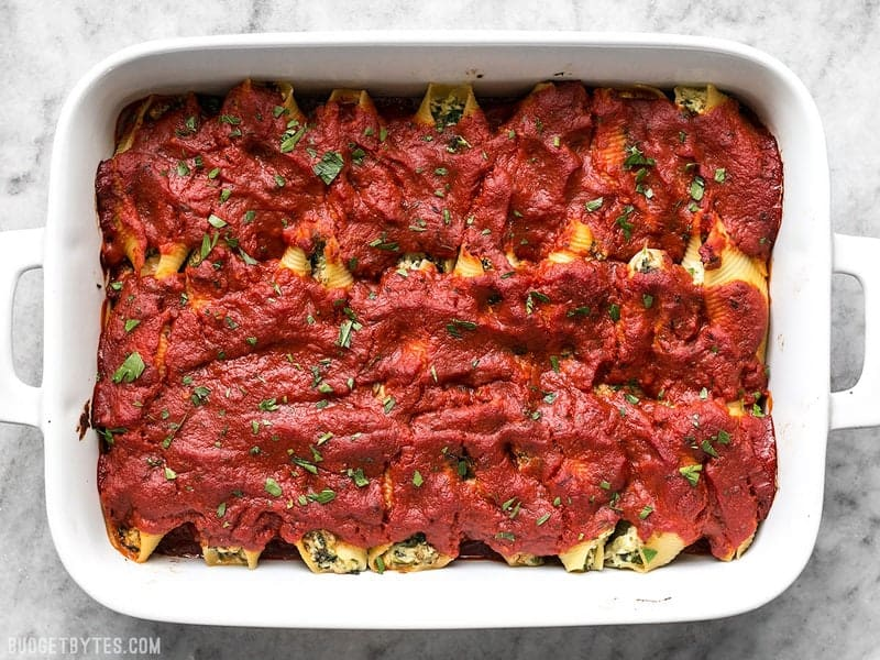 Pesto Stuffed Shells Baked