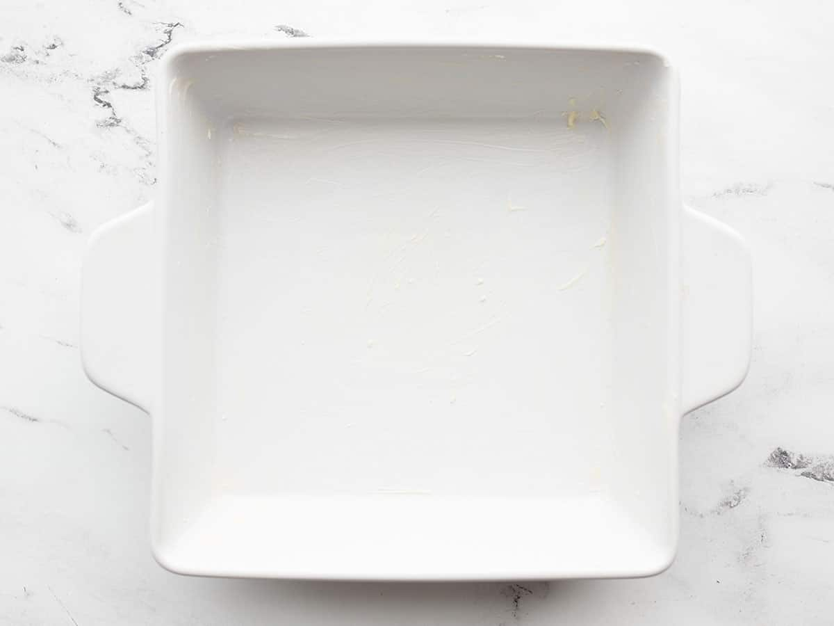buttered square baking dish