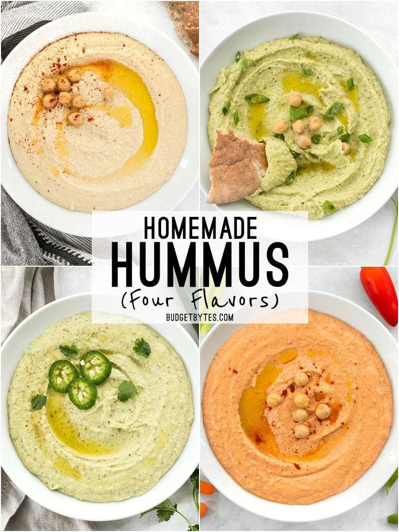 Four flavors of Homemade Hummus - Plain, Parsley Scallion, Jalapeño Cilantro, and Roasted Red Pepper
