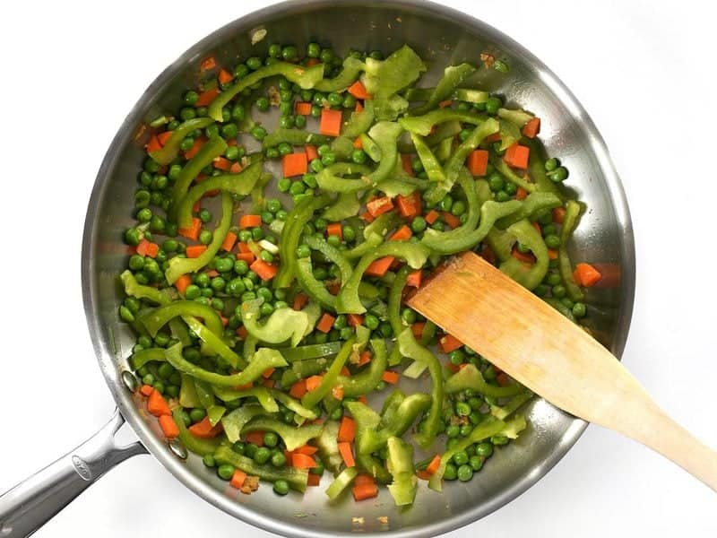 Add Bell Pepper and Peas