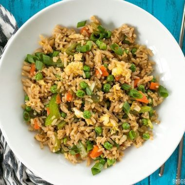 Vegetable NOT Fried Rice is a fast, easy, and lighter alternative to take out. Makes a great lunch or base to build on for dinner. BudgetBytes.com