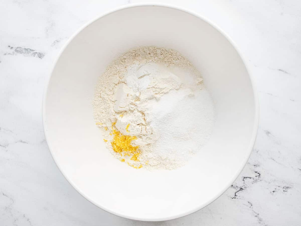 Scone dry ingredients in a bowl