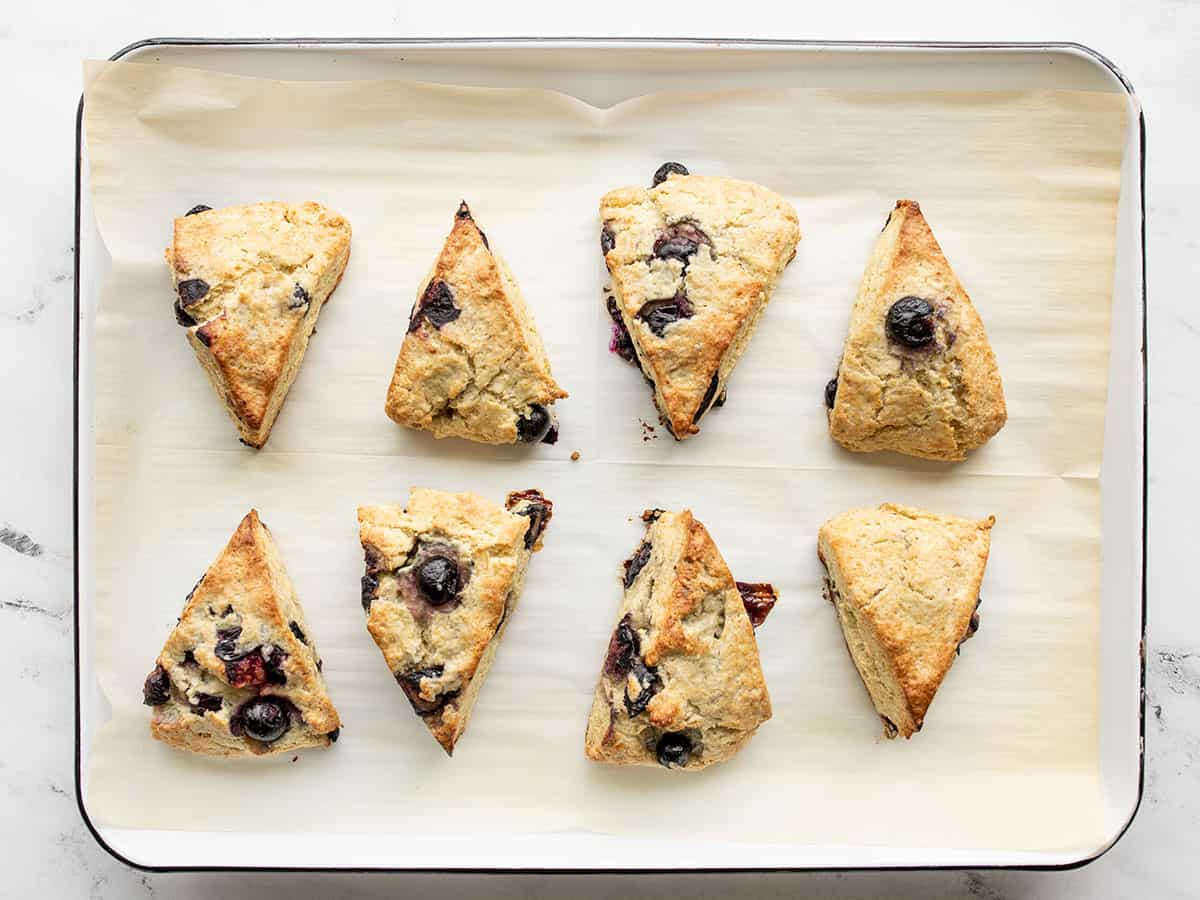 Baked blueberry scones on the baking sheet