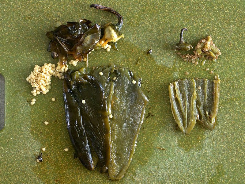 Poblano and Jalapeño peeled with seeds removed