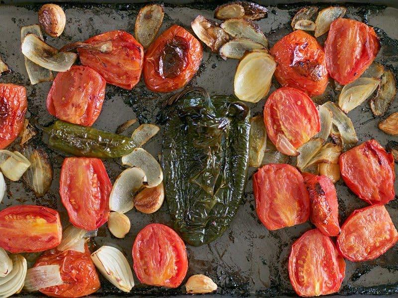 Roasted Salsa Ingredients on pan