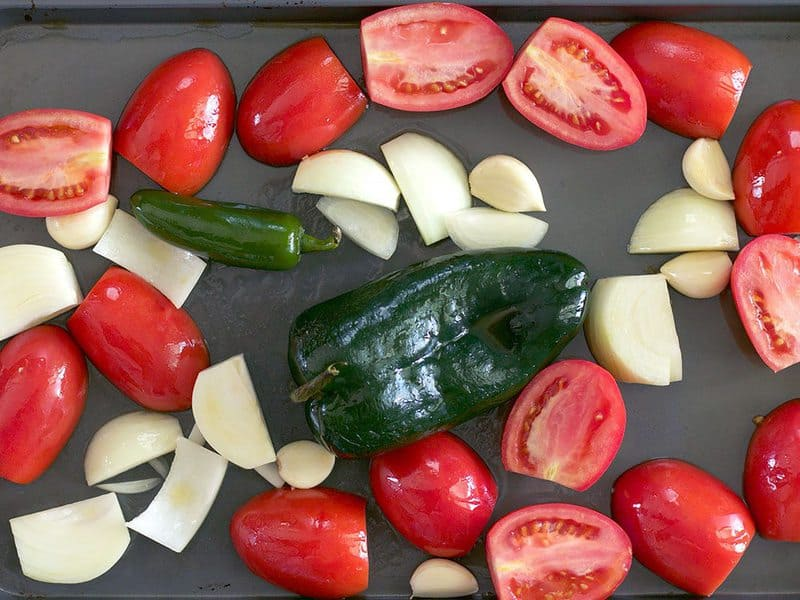 Salsa Ingredients Ready to Roast