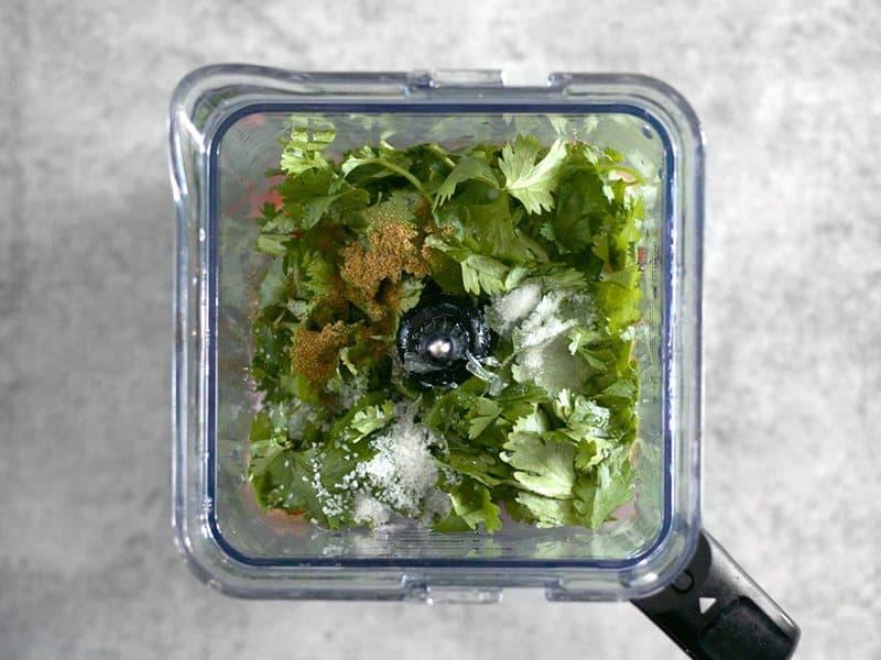 Top view of Salsa Ingredients in Blender