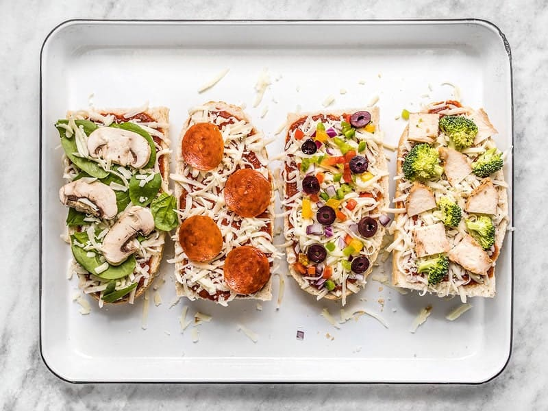 Customized toppings added to French Bread Pizza