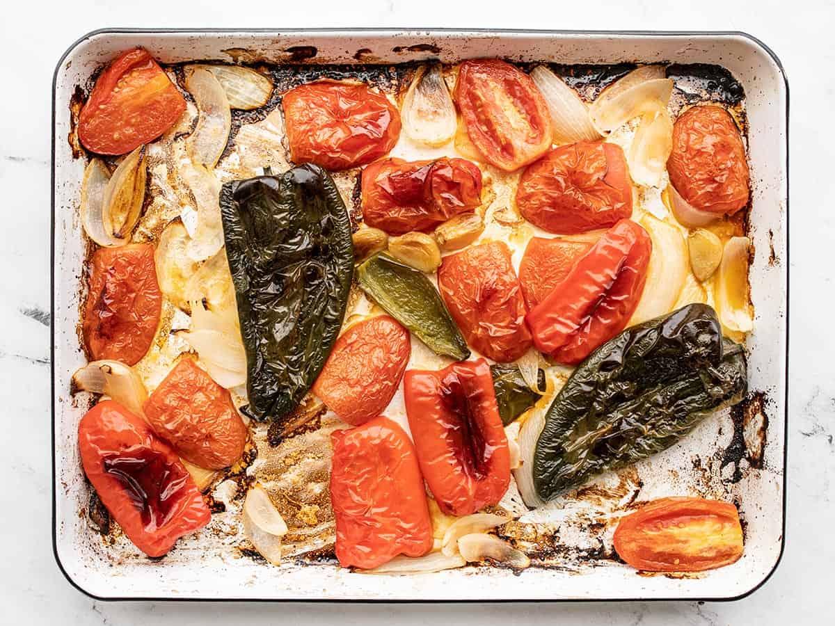Roasted vegetables on the baking sheet
