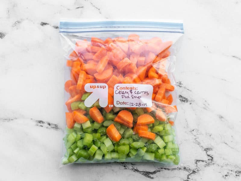 Pre-chopped carrot and celery in a freezer bag