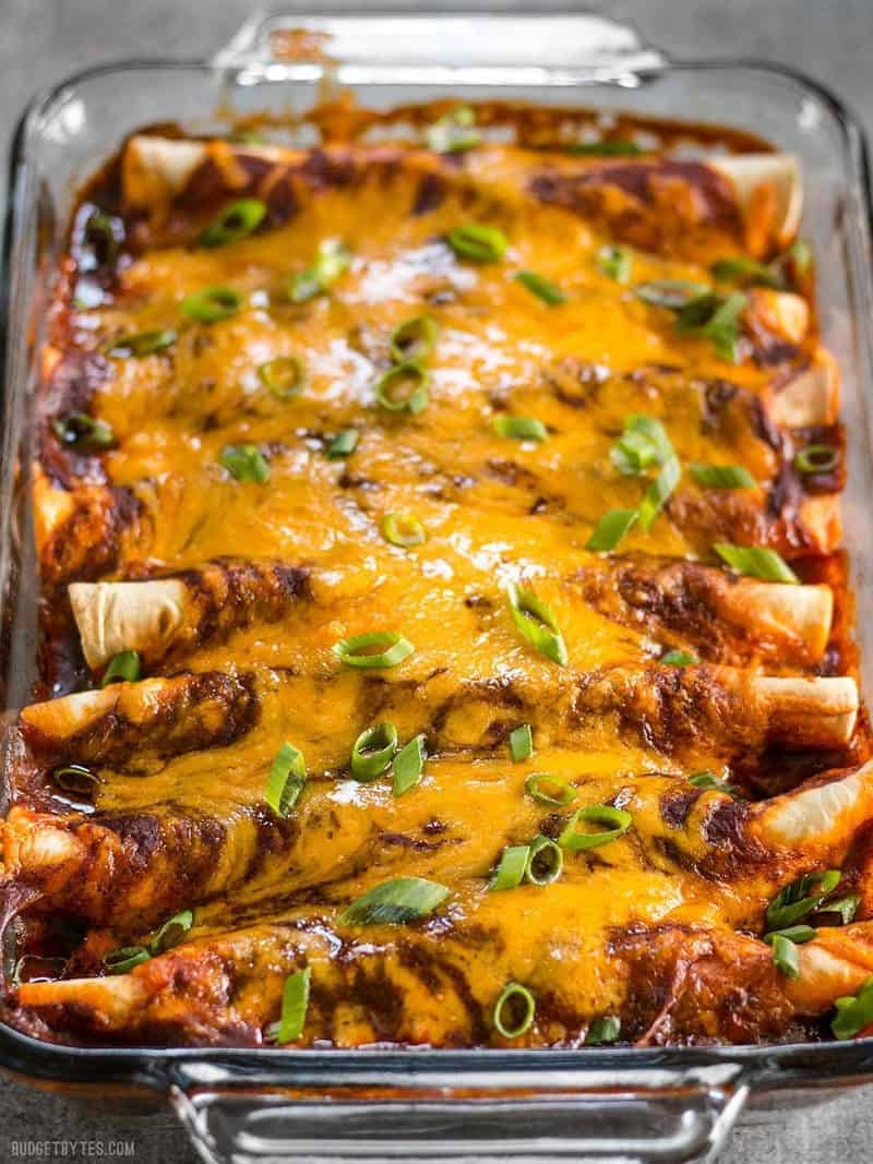 These award winning Chorizo and Sweet Potato enchiladas have a perfectly balanced sweet and spicy flavor that will leave you wanting more. BudgetBytes.com