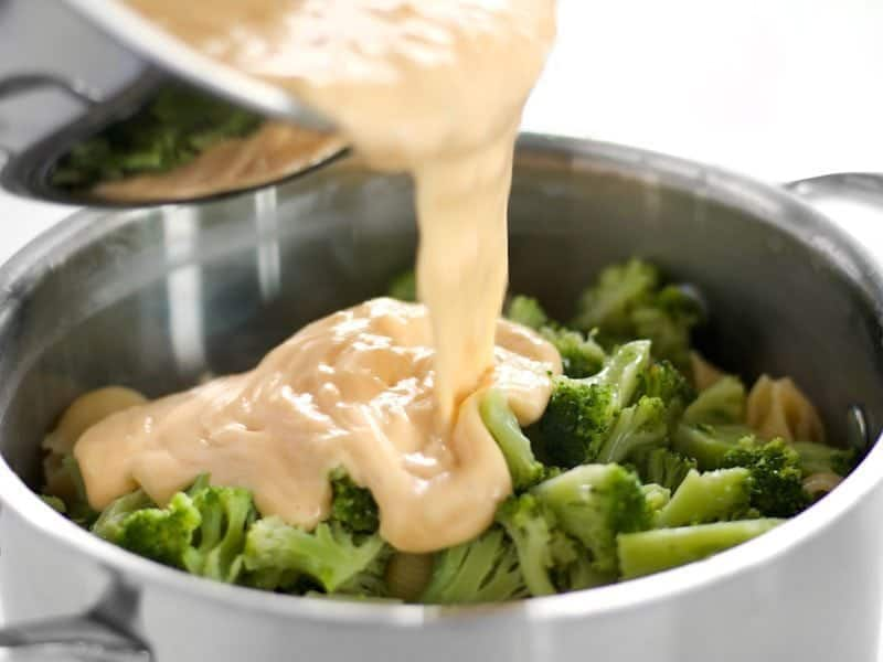 Combine Cheese Sauce Broccoli and Shells