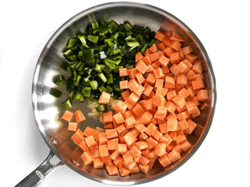 Diced Sweet Potato Poblano and Garlic