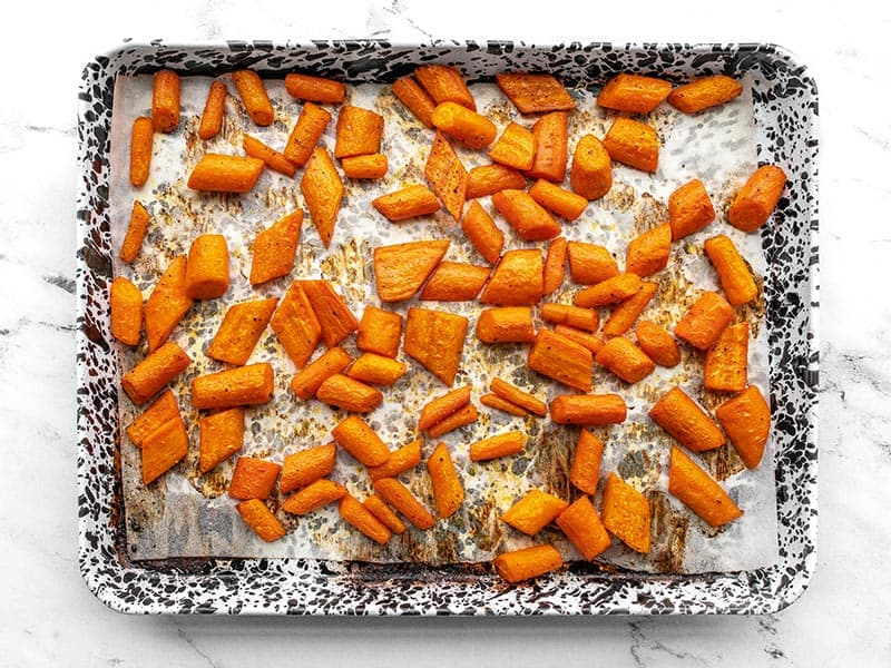 Roasted Carrots on the baking sheet