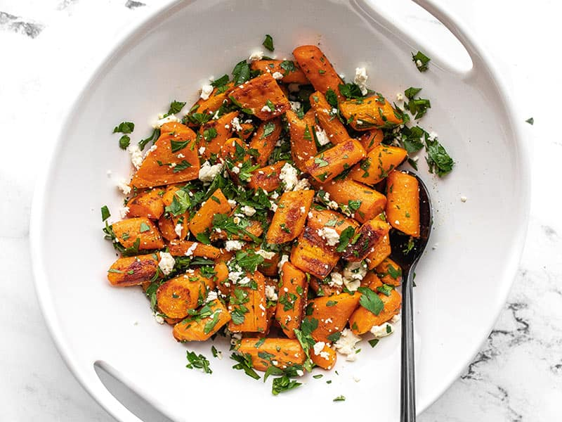 Finished Roasted Carrot and Feta Salad in a white serving dish
