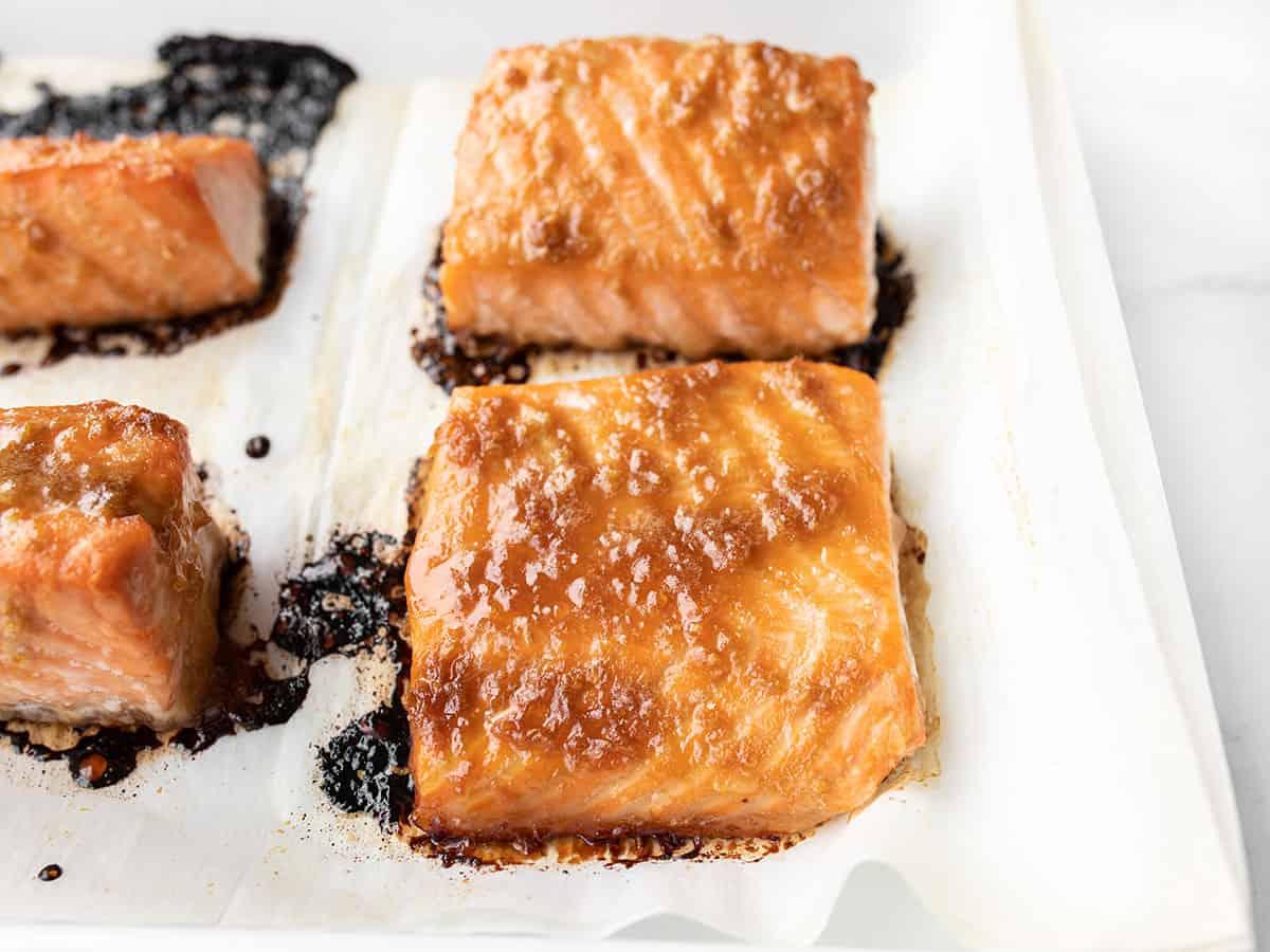 Baked ginger salmon on the baking sheet