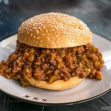 The plus in Sloppy Joes Plus is lentils! Tender lentils make the perfect addition to ground beef and increase the texture, flavor, and nutrients! BudgetBytes.com