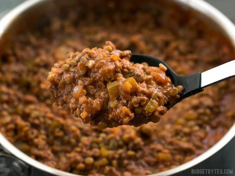 Spoonful of Homemade Sloppy Joes Plus Close Up