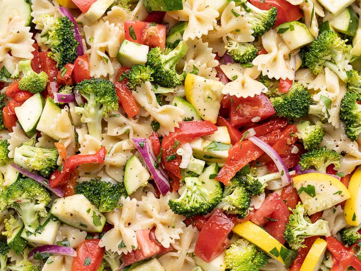 Close up view of summer vegetable pasta salad