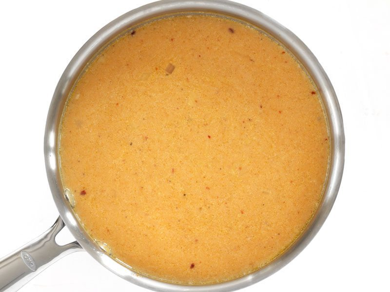 top view of soup mixture in pot