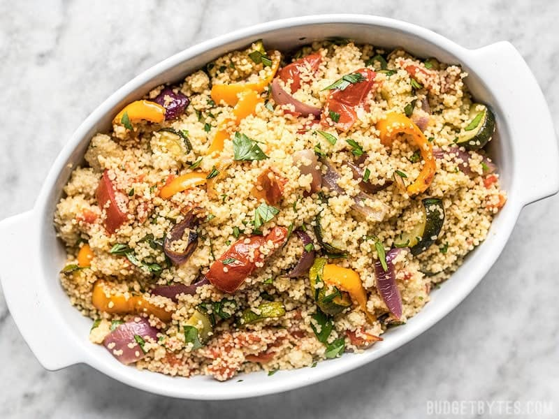 Overhead view of Roasted Vegetable Couscous in a casserole dish
