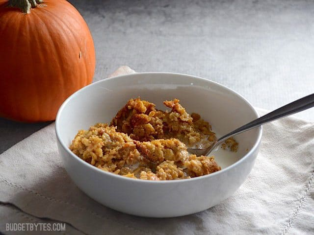 Side view of a bowl of Baked Pumpkin Pie Oatmeal with a pumpkin in the background