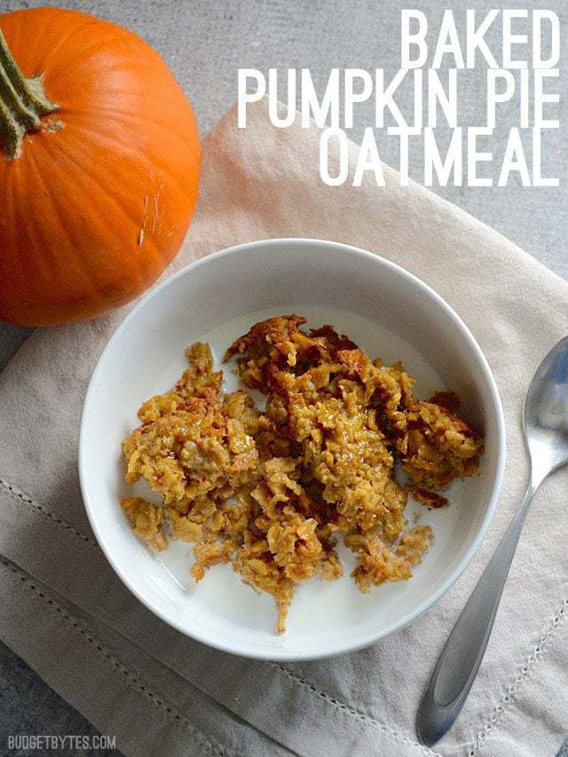 A bowl of Pumpkin Pie Baked Oatmeal with milk poured over top and a pumpkin on the side