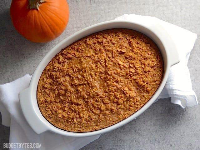 Baked Pumpkin Pie Oatmeal in casserole dish