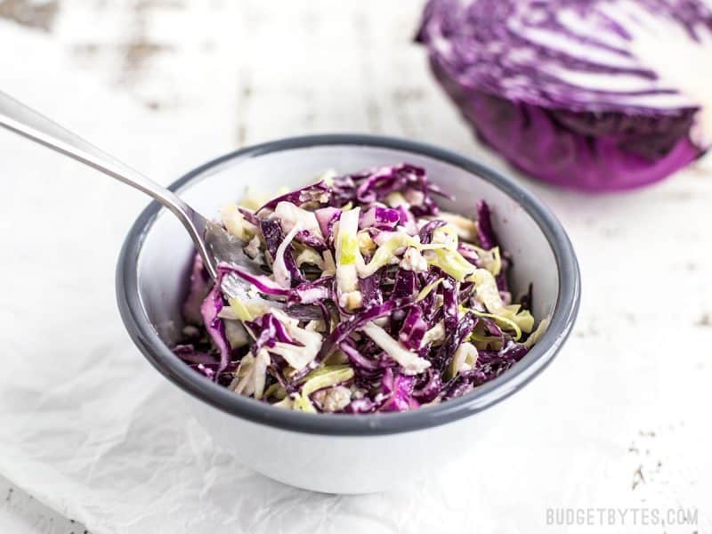 This super simple three-ingredient cabbage salad is huge on flavor and is the perfect side for all of your summer grilling. This Vinaigrette slaw with Feta will become your easy go-to side dish. BudgetBytes.com