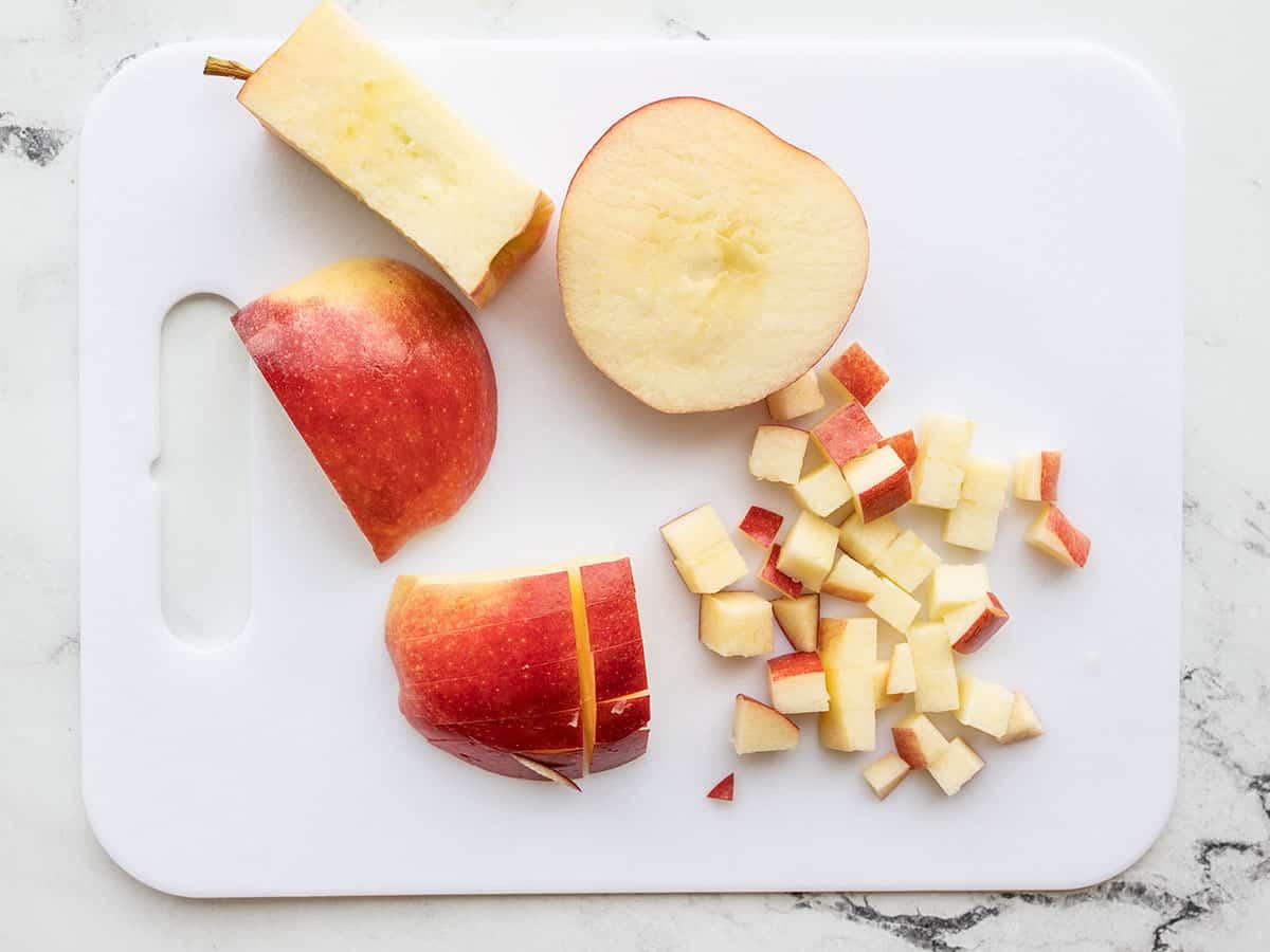 Chopped apple on a cutting board