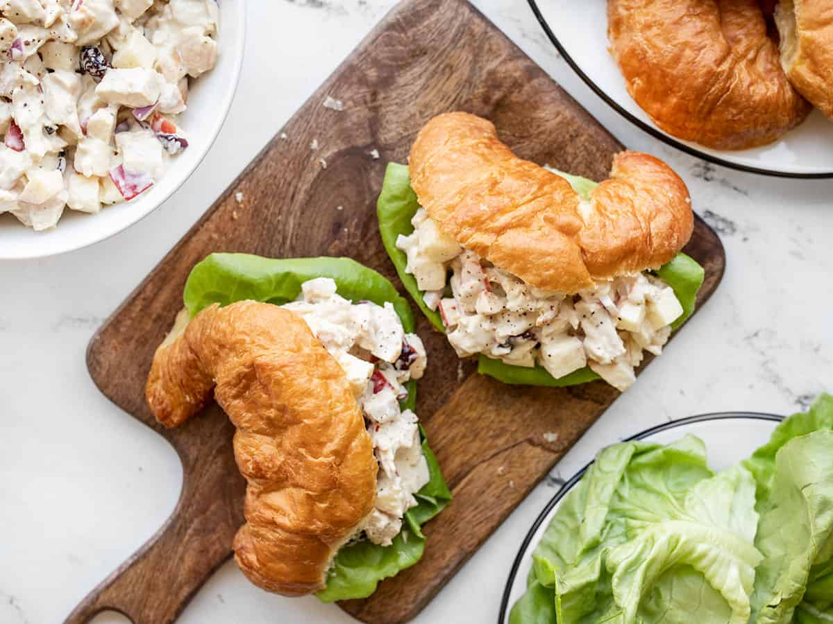 Overhead view of chicken salad sandwiches with croissants