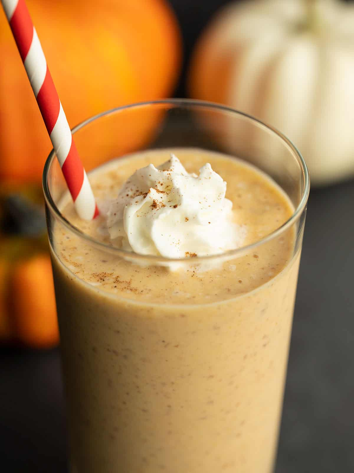 Close up side view of a pumpkin smoothie