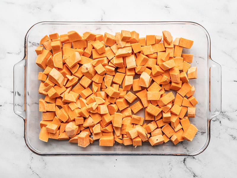 Diced sweet potatoes in casserole dish