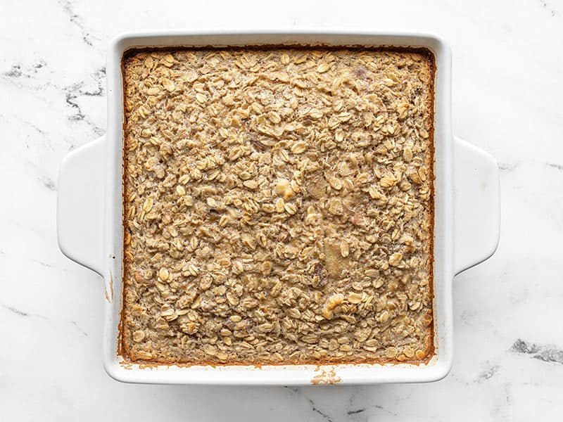 baked banana bread oatmeal in the casserole dish