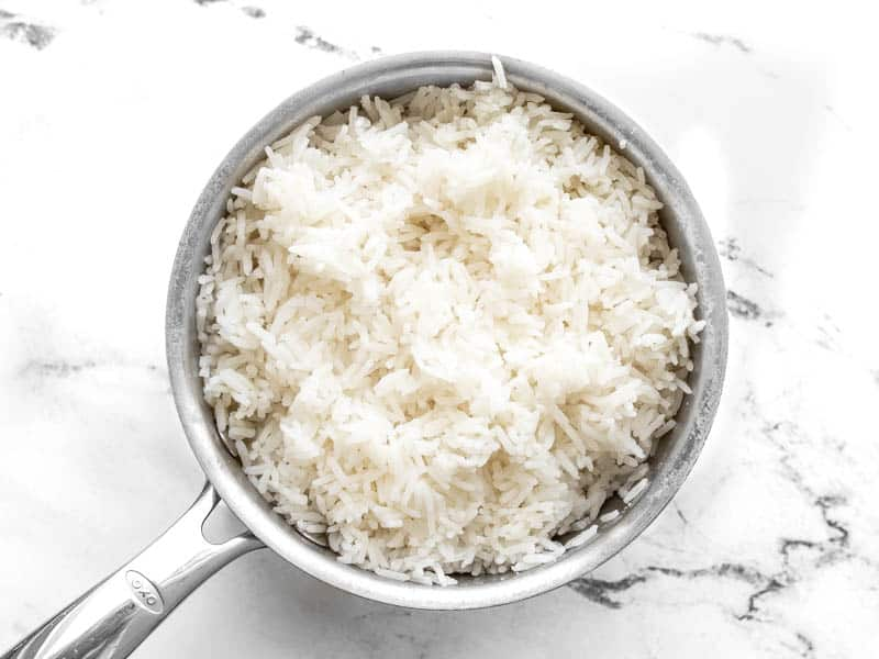 Cooked rice in sauce pot