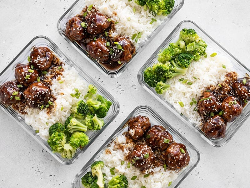 Teriyaki Meatball bowls in rectangular glass meal prep containers