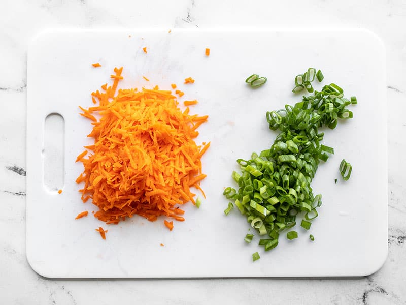 shredded carrot and sliced green onion