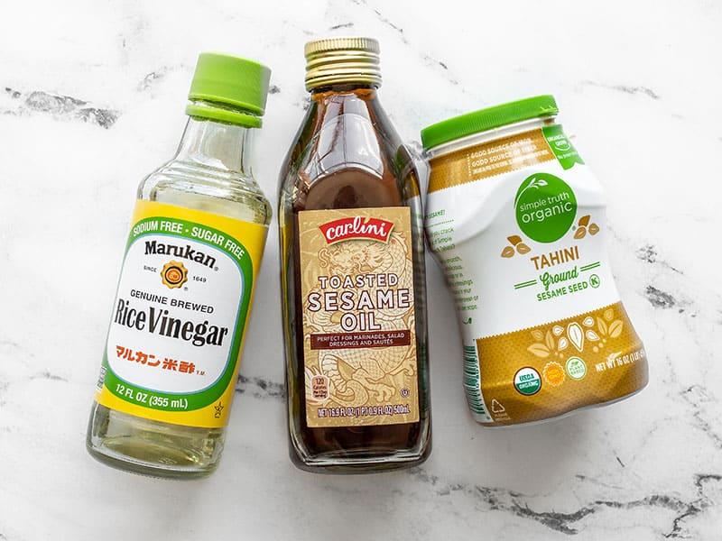 Rice vinegar, toasted sesame oil, and tahini