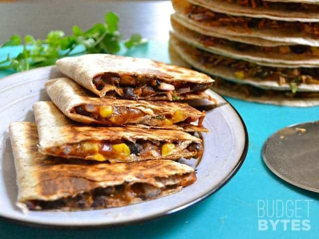 Hearty Black Bean Quesadillas - BudgetBytes.com