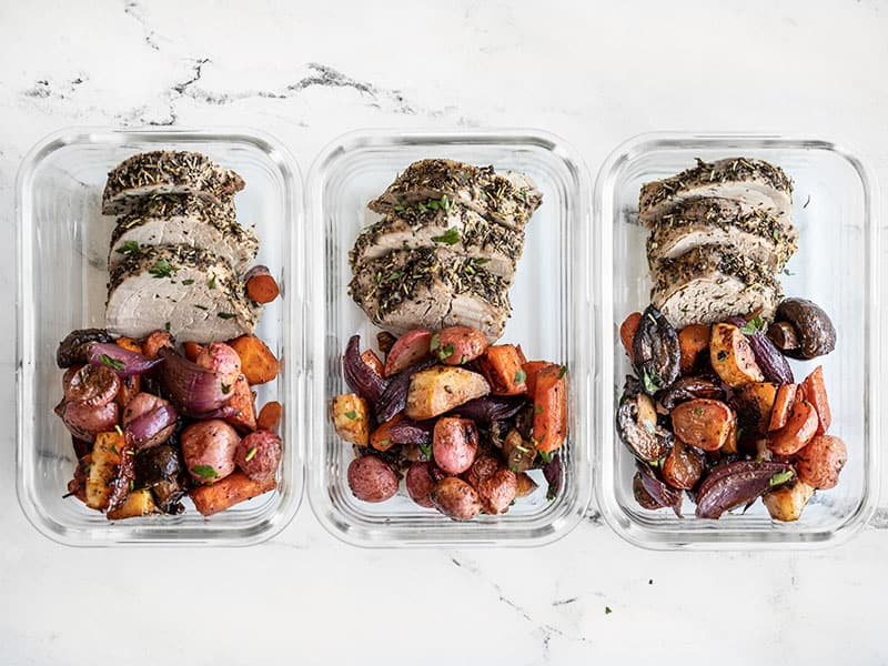 Herb Roasted Pork Tenderloin and Balsamic Roasted Vegetables in meal prep containers