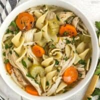 "This Homemade Chicken Noodle Soup is full of chunky vegetables and all that ""from scratch"" flavor, just like Grandma used to make. Budgetbytes.com"