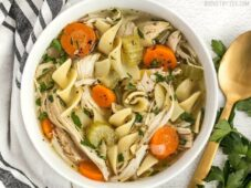 """This Homemade Chicken Noodle Soup is full of chunky vegetables and all that """"from scratch"""" flavor, just like Grandma used to make. Budgetbytes.com"""